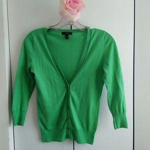 J.Crew factory  green Solid  cardigan Size xxs
